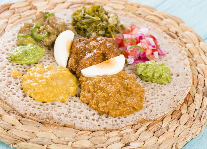 traditionell ethiopisk måltid
